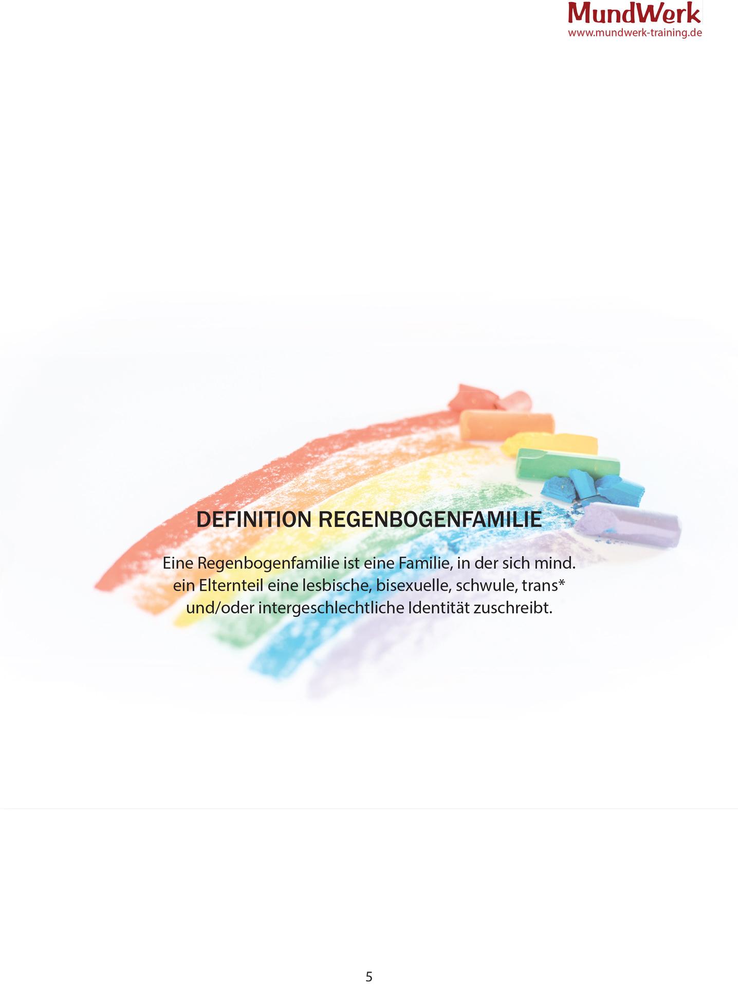 Beispielseite aus dem Workbook: Definition Regenbogenfamilie