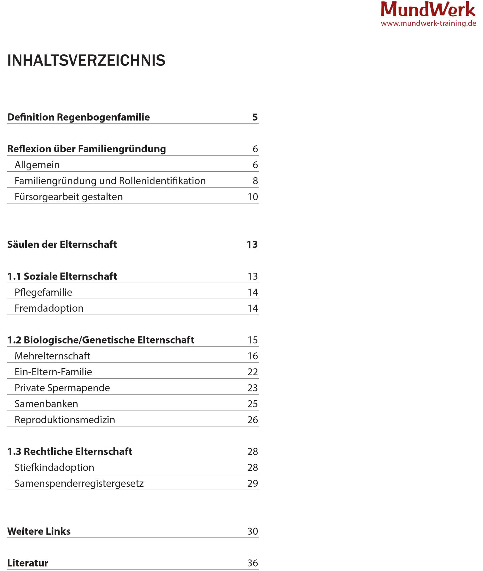 Workbook: Inhaltsverzeichnis
