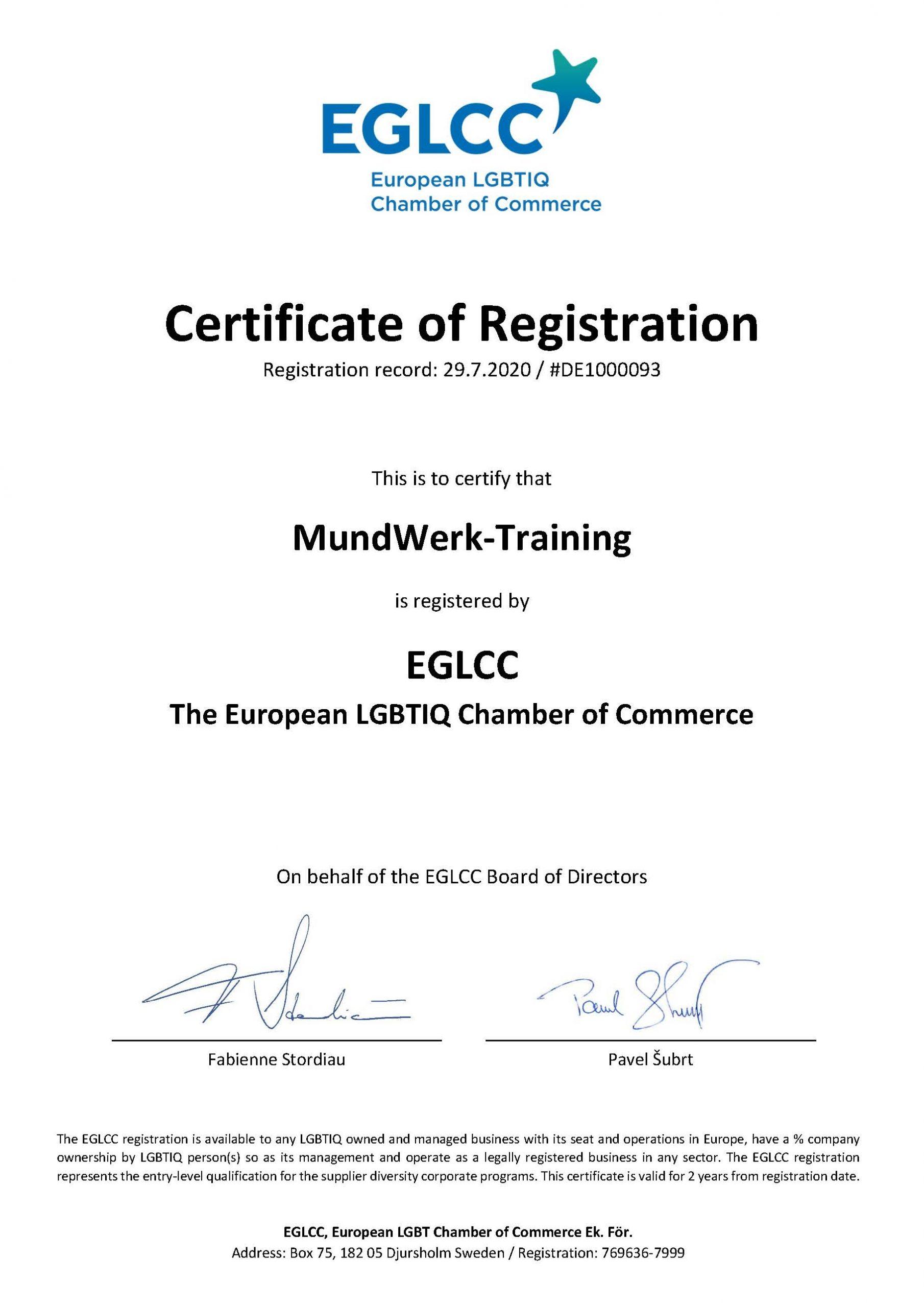 EGLCC Registration Certificate DE1000093 MundWerk-Training