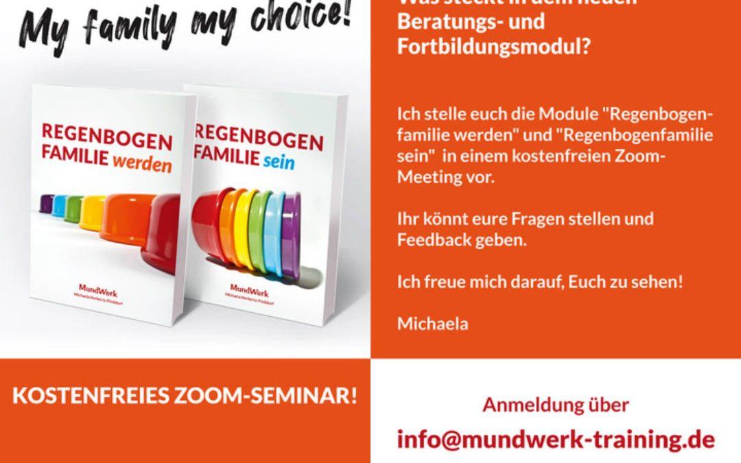 """Kostenfreie Zoom-Vorstellung Online-Angebot """"Regenbogenfamilie werden und sein"""" im Juni 2021"""