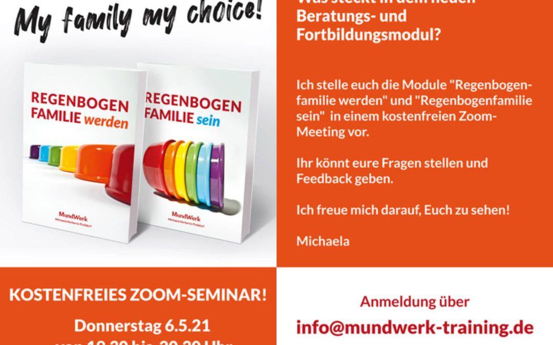 """Kostenfreie Zoom-Vorstellung Online-Angebot """"Regenbogenfamilie werden und sein"""" im Mai"""